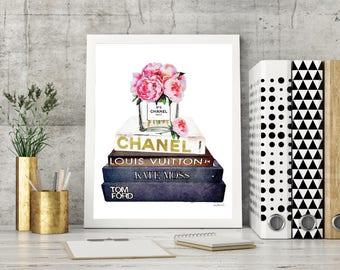 Peony, Fashion Watercolor, books, designer, fashion, Gold effect, Fashion books, bedroom decor, fashion illustration, fashion, perfume,decor