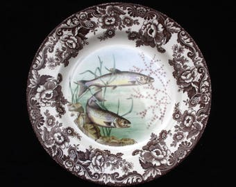 Spode | Woodland Stream | Salmon | Brown and White | Dinner or Display Plate | 10.5 inches