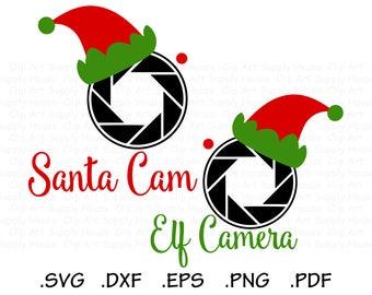Santa Cam Clipart, Elf Camera SVG, Santa Camera SVG, Santa Watch SVG, Cricut Design Space, Silhouette Studio, Brother Scan n Cut - CA480