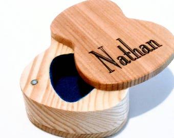Custom Wooden Guitar Pick Box, Acoustic Guitar Pick box, music gift, custom guitar teacher gift, guitar pick storage, wood pick holder C&PAE