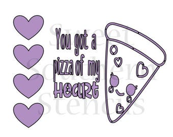 Pizza PYO Valentine Cookie Stencil