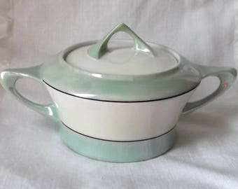 Just Listed...MEITO China...LUSTERWARE...2 Handle SUGAR Bowl....Lt Green & Ivory...Hand Painted...Art Deco Design