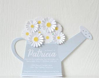 Pail of Daisies Invitations: daisies, floral, flowers, mom birthday, party, engagement, bridal shower, baby shower, baby sprinkle - LRD050P