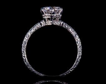 Edwardian Style // 18K White Gold or Platinum // Engraved // Engagement Ring Setting