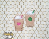 iced coffee cup felties - set of coffee whipped cream felties - instant download machine embroidery design - 04 21 2017