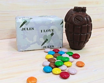 Valentines Chocolate, milk chocolate grenade with 'smarties'