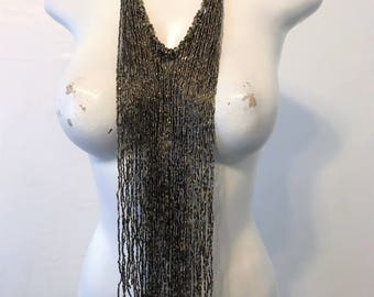 15% off sale, Drop Tassle Bib Necklace, cord necklace, bib necklace, tassle necklace, statement necklace, festival necklace, necklace
