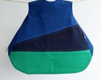 The Vinklar Bib Apron , Vancouver , deep cove, blue, green , baby shower gift, baby bib, bib, apron, skagfa