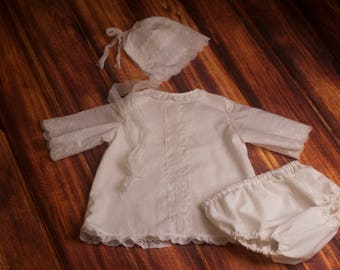 RTS, Sitter romper set, Baby dress bonnet set, Baby girl romper, White, Cream, Vintage, 6 months, 12 months, Natural, Bonnet set, eyelet