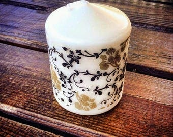 Candle decoupaged with napkins handmade decoration home decoration diy