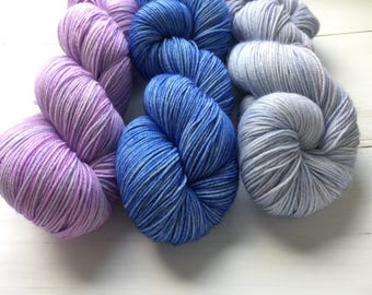 3 skeins of hand dyed yarn, 100% Superwashed  Extra Fine merino wool 3x 100 gram
