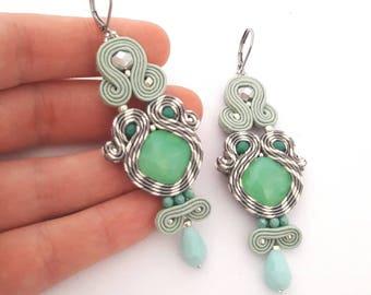 Green earrings, mint green earrings, long earrings, drop earrings, embroidered earrings, crystal earrings, gray earrings, boho earrings