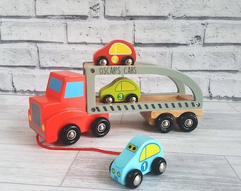 Wooden Car Carrier, Pull along toy, Transporter, Cars, Personalised Toy - 00052