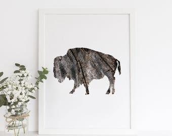 Printable Wall Art, Buffalo Print, Wood Print, Rustic Print, Buffalo Art, Digital Print, Bison Art Print, Instant Download, Downloadable Art
