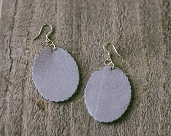 Lavender Leather Scallop Edged Oval Earrings