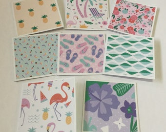 Summer cards, mini card set, gift cards, thank you cards, note cards, mini notes, set of 8