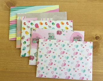 Handmade envelopes, Snail mail envelopes, patterned stationery, size C6, pen pal, planner accessories, colourful, gift idea, set of 5