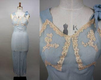 1930s Silk Crepe Nightgown / 30s Blue Bias Cut Gown / Sheer Nightdress / Cotton Lace Applique / Size Small / XS S