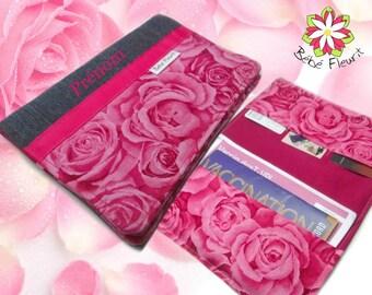 Immunization booklet health cover personnalized  prénom rose coton