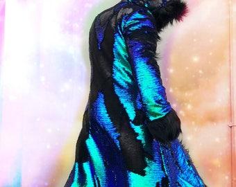 MASTER DRAGON Burning Man Fur Coat Dragon Scale Reversible Sequence | Playa Jacket | Faux fur coat Men| Festival Outfit | Boho Coats