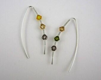 Ear cuff - Argent sterling - Boucles d'oreille avant / arrière - perles Swarowski - minimaliste