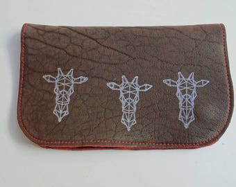 Tobacco leather plum colour and origami giraffe