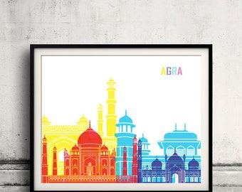 Agra skyline pop - Fine Art Print Glicee Poster Gift Illustration Pop Art Colorful Landmarks - SKU 2354