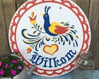 Vintage Wilkom Sign - Welcome Sign - Pennsylvania Dutch - Farmhouse Style - Farmhouse Decor - Country Decor
