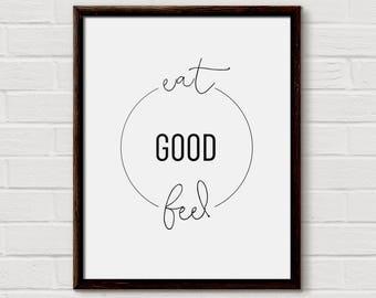 Kitchen Decor, Kitchen Wall Art, Kitchen Prints, Eat Good Feel Good, Home