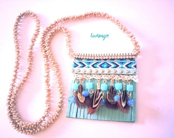 Ethnic necklace, handmade, made with jade beads and glass beads, with feathers, suede, fabric,