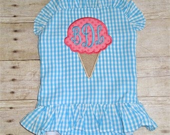 Personalized Girls Swimsuit - Girls Monogrammed Swimsuit - Girls Monogram Swimsuit - Girls Bathing Suit - Ice Cream Applique Swimsuit