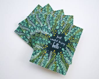 Just Wanted to Say Hello flora greeting cards - hand painted set of five 5.5 x 4