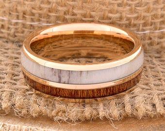 Tungsten Ring Tungsten Wedding Ring Band Mens Women's Wedding Bands Red Wood and Antler Inlay Ring Promise Anniversary 8mm Rose Gold Ring