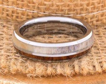 Tungsten Ring Tungsten Wedding Ring Band Wood Deer Antler Ring Men Women Wedding Band 6mm Custom Made Handmade Personalized Engraving New