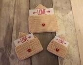 LOVE VALENTINE'S DAY gift valentine's present valentine's gift card holder crochet envelope with gift card of choice