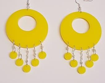 Funky Geometric Hoop and Circle Earrings - Acrylic