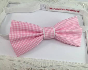 Pink and white gingham bowtie child