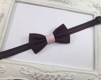 Bow tie chocolate brown and pale pink - baby