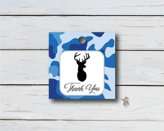 Thank You Tag, Baby Shower, Birthday Party, Wedding, Buttons, Tags, Gift Stickers, Camo, Blue, Hunting, Printable Instant Download T231F