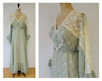 Vintage 70s Gunne Sax dress, 70s angel sleeve maxi dress, green Gunne Sax dress
