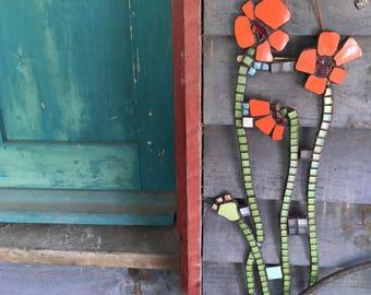 Garden outdoor mosaic art, Poppy Stems, Mosaic Poppies, Poppy wall art, Poppy mosaic . Unique gift.