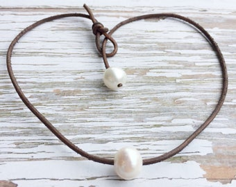 Large Pearl and Leather Choker Necklace ~ Single Freshwater Pearl on Dark Brown Leather ~ Floating Pearl
