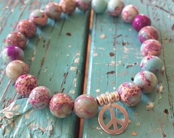 Groovy Hippie | Teal and Purple Jasper + Hill Tribe Sterling Silver Peace Sign | Spiritual Junkies | Yoga + Meditation | Mala Bracelet