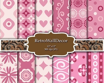 40% OFF SALE Pink Shabby Chic Digital Papers digital shabby chic retro patterns in pink color , Digital background , paper pack 12x12 Buy 2
