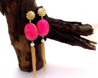 Designer earring,gemstone earring,long earring,gold plated earring,celeb earring,party wear earring