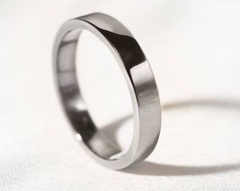 3mm Flat Profile Recycled Platinum 'Brora' Wedding Ring