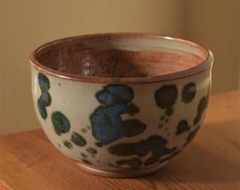 Blue and White Pottery Bowl, Pottery Soup Bowl, noodle  bowl by Fire Garden Pottery. 16oz. Shino w/blue glaze, high fire stoneware pottery.