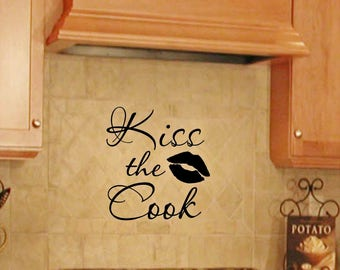 Kiss the Cook vinyl wall decal, kitchen wall decal