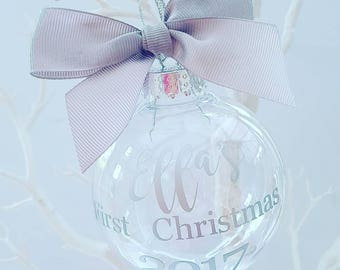 Baby's First Christmas Bauble, Personalised Baby Bauble, Baby Gift, Gold, Silver, Red