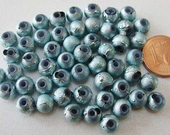 50 perles environ Rondes 6mm verre peint BLEU CLAIR PV-peint-04 création bijoux
